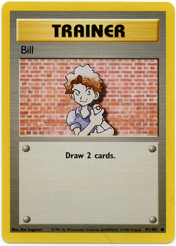 Bill # 91//102 Unlimited Base Set Pokemon TCG Game Trading Cards Trainer