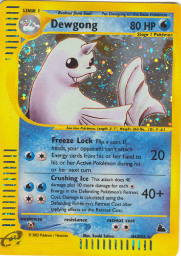 POKEMON Reverse Holo Skyridge ENGLISH Dewgong 7//144