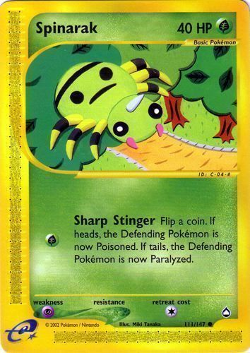 Neo Genesis 1st Edition Near Mint Pokemon Card Spinarak 75//111