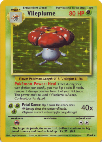 Holo 1st Edition Gym Heroes 1st Edition Singles 5//132 Erika/'s Vileplume